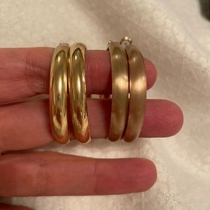 Set of two 14k gold dipped hoop earrings